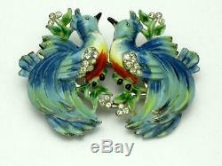 CORO Love Birds Duette Brooch Clip Enamel Rhinestone Vintage 1935