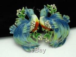 CORO Love Birds Duette Brooch Clip Enamel Rhinestone Vintage 1935 25