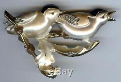 Charming Vintage 1940's Enamel Rhinestone Two Birds Pin Brooch