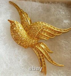 Christian Dior Gold Plated Gold Canary Crystals Bird Brooch Pin RARE VINTAGE