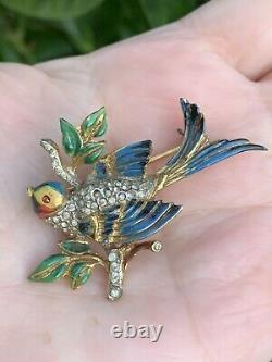 Coro Craft brooch Bird Sterling Adolph Katz Vintage 1940s Rhinestones Rare Pin