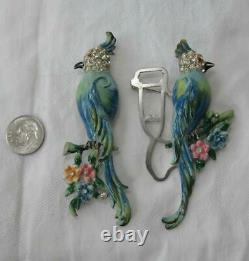 Coro Duette Bird of Paradise Pin Brooch Vintage 1940s Costume Jewelry Retro Deco