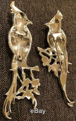 Coro Duette Birds of Paradise Pin Brooch Vintage 40s Costume Jewelry Retro Deco