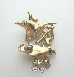 Coro Vintage Signed 1948 Coro Bill and Coo Love Birds Rhinestone Brooch
