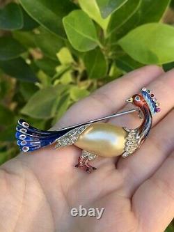 Coro brooch Bird Peacock Vintage 1940s A. Katz Pearl Jelly Belly Enamel Des120124