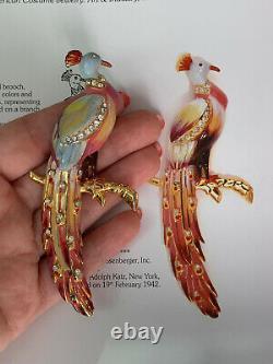 Coro brooch Peacock Bird Vintage Des 131972 1942s Mark # 1 A. Katz Large 4 Inch