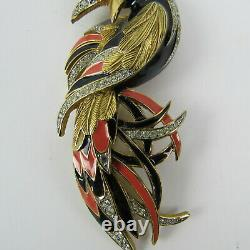 DOrlan Bird of Paradise Brooch Beatiful Signed Multicolor Vintage Collectible