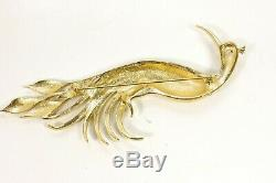 D'ORLAN Vintage Brooch Haute Couture Designer 5 Peacock Rhinestone Enamel Bird