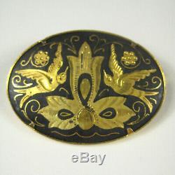 Damascene Brooch Birds Flower Goldtone Oval 1.75 In Pin Unsigned Vintage