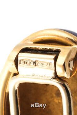 Designer 18KT Yellow Gold Blue Enamel Bird Sitting On Branch Vintage Brooch Pin