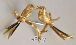 Designer ALDO GARAVELLI Italy 18K Gold Enamel Ruby Love Birds Vintage Brooch Pin