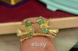 Estate Vintage Honolulu 18K gold Jade ruby brooch w 2 love birds