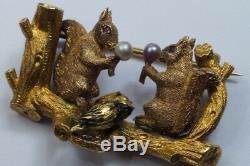 FINE QUALITY ANTIQUE ENGLISH 18K GOLD PEARL SQUIRRELS & BIRD BRANCH BROOCH c1880