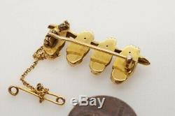 FINE QUALITY ANTIQUE LATE VICTORIAN ENGLISH 15K GOLD OWLS & BRANCH BROOCH c1900