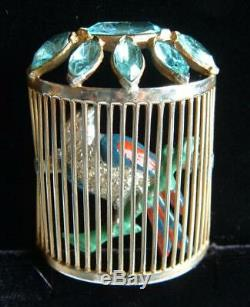 Fabulous VTG Brooch Bird Cage 3D Enamel Blue Topaz Rhinestone Unsigned STARET