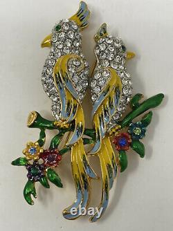 Fabulous Vintage Birds of Paradise Parrots Rhinestone Enamel brooch