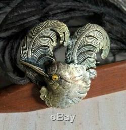 Fine Antique Silvered & Yellow Glass Eyes Bird Pin Brooch
