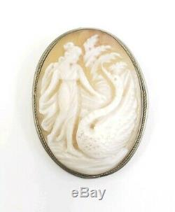 Fine Vintage 800 Silver Carved Shell Cameo Lady Swan Bird Pendant Brooch
