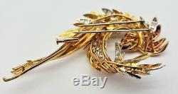 French Vintage 18K Gold Diamonds Ruby Emerald Bird Brooch MAGNIFICENT
