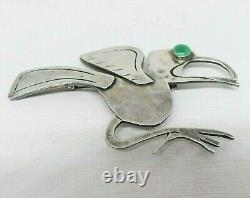 G. Laffi Peru Vintage 925 Sterling Silver Green Eyed Bird Brooch Pin LARGE