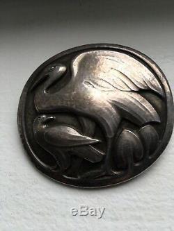 Georg Jensen Vintage (1933-44) Signed Sterling Silver Two Birds Brooch No. 167