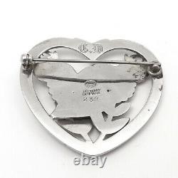 Georg Jensen Vintage Sterling Silver Bird In Heart Brooch Pin no239