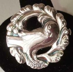 Georg Jensen Vintage Sterling Silver Dove Bird In Wreath Brooch Pin Denmark #134
