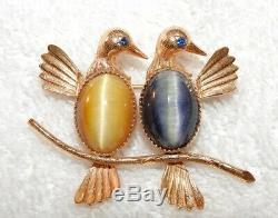 Gold Filled Brooch Birds with Cat Eye Stones Signed Vintage Creed