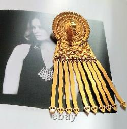 Golden Bird Snake Disc Brooch Pin Made in Peru Inca Vintage