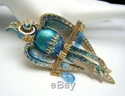 Gorgeous Signed Sweet Romance Bird Parrot Brooch Rhinestones Enamel Crystals