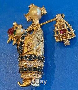 Gorgeous Vintage CINER Gold Plated Oriental Lady Bird Catcher Brooch