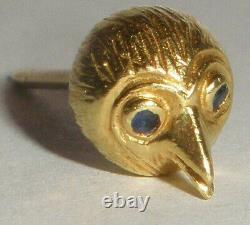 Great vintage 14k gold bird head with sapphire eyes tie tack or lapel pin