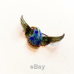 Guilloche bird brooch antique enamel pin spread eagle bird in flight