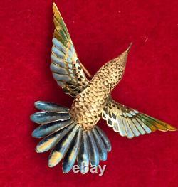 HEAVY Imperfect Vintage Solid 18K Yellow Gold Enamel Hummingbird BIRD Brooch