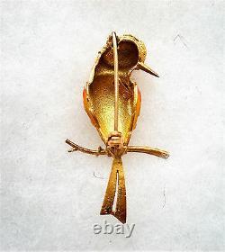 HEAVY Vintage Designer Solid 18K Yellow Gold Enamel BIRD Brooch Pin 18kt
