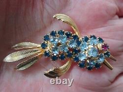 HOBE Signed Rhinestone Bird Brooch Gold Tone EXCELLENT Vintage RARE