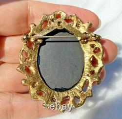 HUGE Neoclassical Goddess Birds Flowers Black Carved Cameo Glass Brooch Pendant