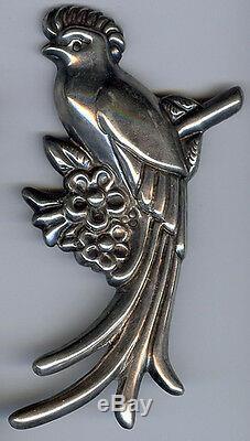 Hallmarked Huge Vintage Mexico Silver Quetzal Parrot Bird Pin Brooch