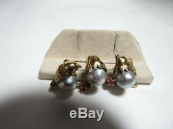 Hand Made Vintage 14k Solid Gold 3 Bird Brooch / Pin With Tahitian 9 MM Pearls