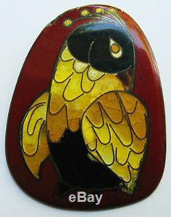 Hilda Kraus Rare Vintage Modernist Sterling Silver Enamel Quail Bird Pin Brooch