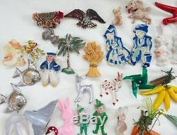 Huge Lot Vintage figural Brooches Birds Fish Celluloid Animals Novelty