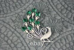 Huge Vintage Antique Art Deco Sterling Silver Emerald Glass Peacock Bird Brooch