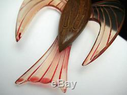 Huge Vintage Carved Lucite & Wood Bird Pin Brooch Figural Unique