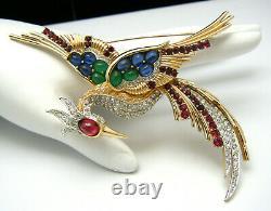 Iconic Vintage Boucher Bird of Paradise Brooch Rhinestones Red Green Blue Glass
