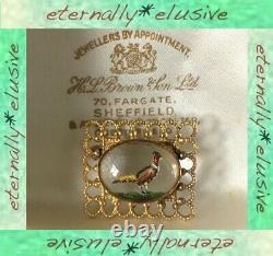 Intaglio Reverse Carved Painted Essex C Pheasant Bird Brooch Pin Antique Vintage