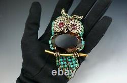Iradj Moini Fashion Jewellery Vintage Owl Bird Brooch Signed