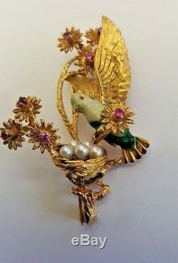 Italian Vintage 18K Gold Ruby Enamels Pearls Love Bird Brooch MAGNIFICENT