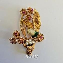 Italian Vintage 18K Gold Ruby Enamels Pearls Love Bird Brooch MAGNIFICENT