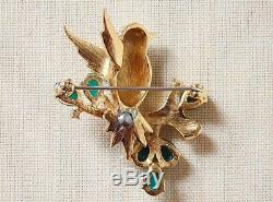 JOMAZ Mazer TREMBLANT BIRD Rhinestone Carved Glass Trembler Brooch PinVintage