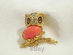 JOMAZ Owl Brooch Pin CORAL Cab Enamel Rhinestones Vintage Figural Bird Gold Plte